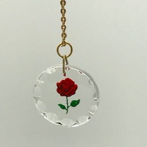 Jewelry - Vintage reverse painted rose on glass necklace